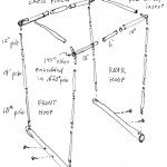 "The canopy frame ""base"" consists of two 7/8"" x 24"" wooden dowels that are inserted into the Xtracycle h-rack (horizontal) tubes and secured with wood screws. Aluminum tent poles are then erected upon this base: a front hoop, a rear hoop, and two cross pieces."