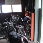 A couple of years ago I commandeered our garage for housing our bikes. I added a nice sliding door for easy access.