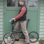 Folding bike. The motor and battery on this bike are remarkably small. They only weigh about 8 pounds, yet they supply 400 watts of power, four times the power of a typical human. Plus, this bike folds to the legal carry-on size for buses and trains.