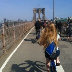 Scaling the Brooklyn Bridge.
