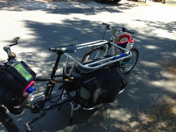"Xtracycle EdgeRunner towing a 20"" bike."